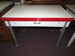 Vintage Metal 1940s Red White Porcelain Top Table 2 Pull Out Leaf Kitchen W Drawer