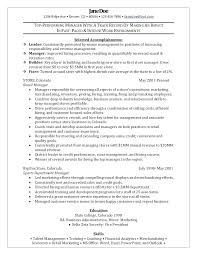 Assistant Manager Resume Objective Retail Resumes Examples Store