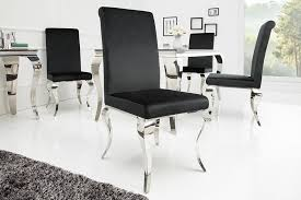 eleganter stuhl modern barock schwarz samt stuhlbeine aus edelstahl esszimmerstuhl