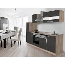 respekta küchenzeile kb250esgc 250 cm grau eiche glänzend