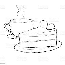 kuchen und kaffee stock vektor und mehr bilder bleistiftzeichnung