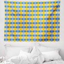 wandteppich aus weiches mikrofaser stoff für das wohn und schlafzimmer abakuhaus rechteckig gelb und blau argyle gitter kaufen otto