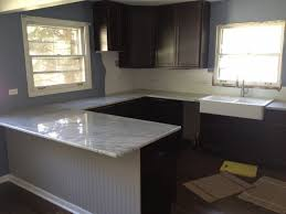 Kitchen Fine Looking U Shaped Espresso Cabinets Escorted By Gray Mosaic Granite Countertop Also White