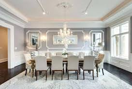 Formal Dining Room Decor Elegant Gray With Wainscoting And Crystal Chandelier