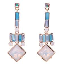 100 Art Deco Shape Butler Wilson Square Shape Drop Art Deco Style Earrings Rosewater Opal Mix