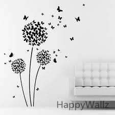 Wall Art Ideas Design Adorable Diy Butterfly Flower Blossom Dandelion Shape International Couch White Interior Seating Happy