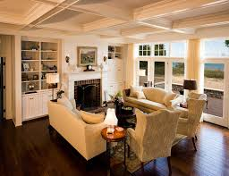 Rustic Living Room Furniture Traditional With Plaid Couch Built In Shelves