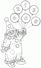 Printable Coloring Page Of Circus Clown Balloons For Kids 184x300