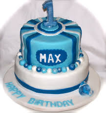 blue and white first birthday cake