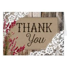 Rustic Wood Lavender Lace Thank You Card