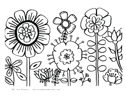Simple Sunflower Coloring Page Cute Flower Pages Bumble Bee Flying Over Awesome Spring Flowers Colo