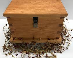 Wood Keepsake Box Cherry Memory Memorial Jewelry Lock