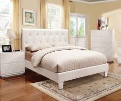 WHITE VINYL RHINESTONE TUFTED UPHOLSTERED BED