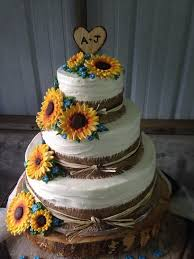 Rustic Sunflower Wedding Cakes