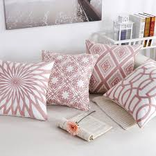 line Shop Nordic Pink Throw Pillows Geometric Embroidered