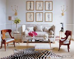 modern chic light blue living room with zebra hide rug and