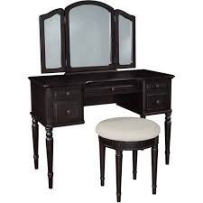 classic vanity with tri fold mirror and bench espresso walmart com