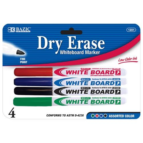 Bazic Assorted Color Fine Tip Dry Erase Marker - 4pk