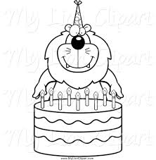 Black And White Lion Making A Wish Over Candles A Birthday Cake 0Ngijs Clipart