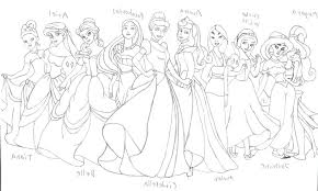 Disney Princess Group Coloring Pages For Printable