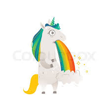 Funny Unicorn Character Vomiting Rainbow Holding Belly Flat Cartoon Vector Illustration Isolated On White Background Full Length Portrait Of