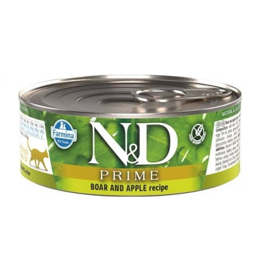 Farmina Natural & Delicious Prime Boar & Apple Canned Cat Food, 2.8-oz Can, Case of 12