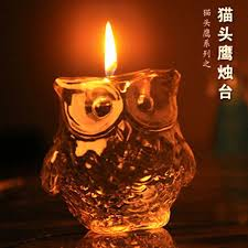 Creative Luckly Owl Ancient Greek Goddess Crystal OWL Candle