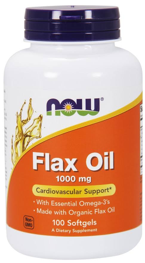 Now Foods Flax Oil - 1000mg, 100 Softgels