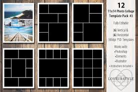 11x14 Photo Collage Template Pack 3 Templates Creative Market