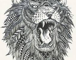 Big Black White African Tribal Lion Temporary Tattoo