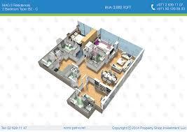 C Floor Plans by 2 Bedroom Type B2 C Floor Plan Mag 5 Residence Al Reem Island