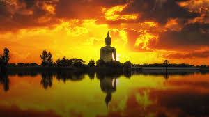 Buddha Statue Sunset Lake