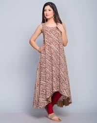 indigo block printed elasticated waist flare cotton dress by