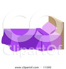 Bedroom Clipart by Bed With Purple Blankets And A Headboard In A Bedroom Clipart