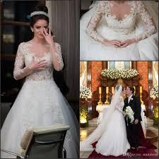 2016 Best Selling Long Sleeve Lace Wedding Dresses y Sheer Neck