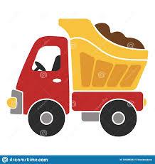 100 Kids Dump Truck Toy Cartoon Vector Illustration For Stock
