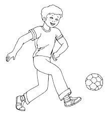 Soccer Coloring Page Boy Playing