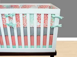 Coral And Mint Baby Bedding by Mint Blooms Baby Bedding Crib Set Mint Gray Coral Salmon Floral
