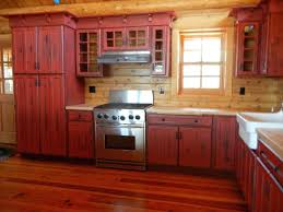Log Cabin Kitchen Cabinet Ideas by Rustic Red Kitchen Cabinets Rustic Red Cabinet Houzz Best 25 Red