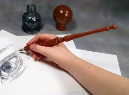 Blue Pumpkin Nib by Handmade Wood Calligraphy Pen Straight Calligraphy Nib Holder