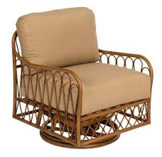 Cane Swivel Rocking Chair With Cushions