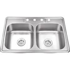 Overmount Double Kitchen Sink by Glacier Bay All In One Drop In Stainless Steel 33 In 4 Hole