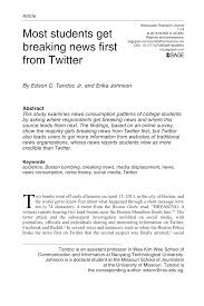 PDF Most Students Get Breaking News First From Twitter