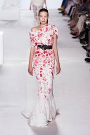 giambattista valli couture fall 2013 red and white floral dress