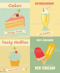 set vintageplakate mit muffin kuchen eis und milchshake stock vektor und mehr bilder alt