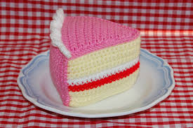 Crochet Pattern for A Slice of Birthday Cake Iced Victoria Sponge Cake Crocheted Play Food