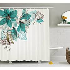 Teal Brown Bathroom Decor by Amazon Com Turquoise Shower Curtain Decor By Ambesonne Flowers