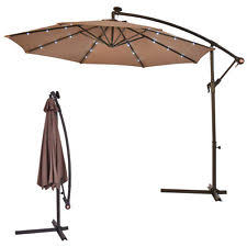 Solar Lighted Patio Umbrella by 10 U0027 Offset Patio Umbrella With Solar Lights Terracotta Ebay