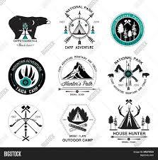 Set Of Vintage Camp Labels Hunting Logo And Design Elements