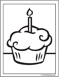 Birthday Cupcake Coloring Pages 15